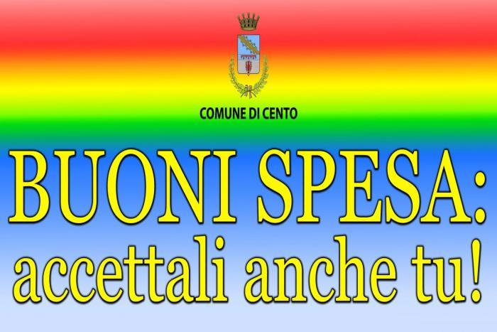scritta Buoni spesa: accettali anche tu! su sfondo arcobaleno con logo comune di cento