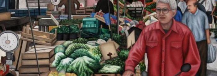 dipinto del mercato con banchetti generi alimentari