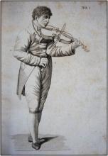 Bartolomeo Campagnoli nel costume d'epoca che suona il violoncello