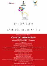 Locandina evento con piccola casa disegnata. loghi associazioni volontariato e programma delle due giornate