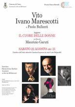 locandina informazioni presentazione libro con fotografia di Vito, Marescotti e Ballanti, Garuti autore e copertina libro