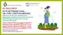 volantino illustrativo dell'iniziativa con donna con grembiule e guanti da giardiniera nell'orto ad annaffiare le piantine
