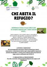 locandina dell'iniziativa con informazioni e fotografie del riccio e del rospo smeraldino