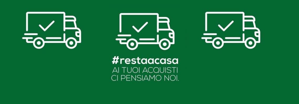 Camioncini che consegnano spesa a casa su sfondo verde